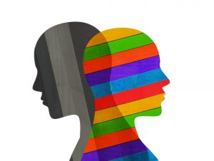 Gray head and colorful head